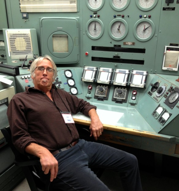 The author at the control officer's station at the world's first full-scale plutonium production reactor.